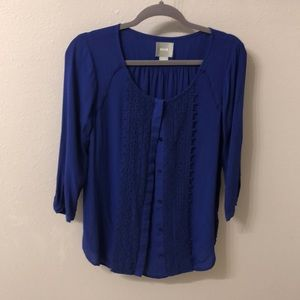Maeve/Anthropologie Cobalt Blue Button Down
